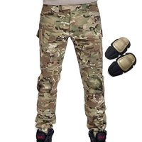 Military Army Tactical Airsoft Paintball Shooting Pants Combat Men Pants with Knee Pads Multicam MC (L)