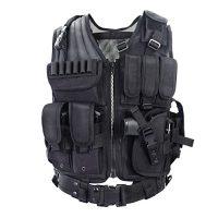 YAKEDA Tactical Vest Outdoor Ultra-Light Breathable Combat Training Vest Adjustable for Adults 600D Encryption Polyester-VT-1063 (Black) (Black)